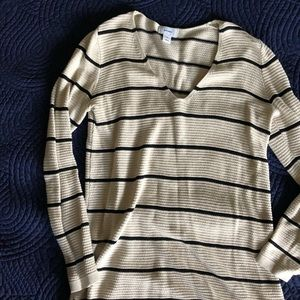 Old Navy cream and black stripe knit tunic